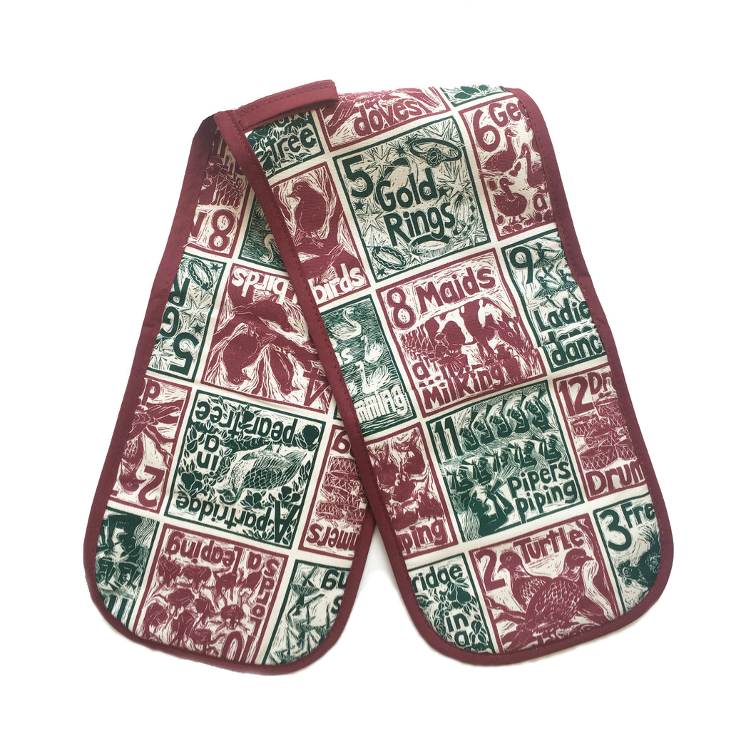 Twelve Days of Christmas Organic Cotton Double Oven Glove