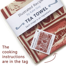Load image into Gallery viewer, Welsh Cawl illustrated recipe tea towel lino cut by Kate Guy
