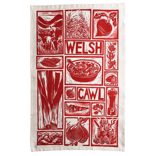 Welsh Cawl illustrated recipe tea towel lino cut by Kate Guy