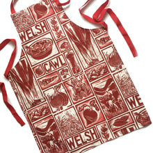 Load image into Gallery viewer, Welsh Cawl Illustrated Recipe Adult Apron - comes with cooking instructions! Lino Cut print by Kate Guy