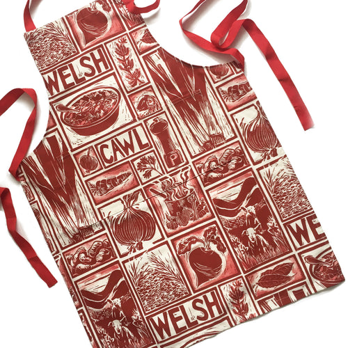 Welsh Cawl Illustrated Recipe Adult Apron - comes with cooking instructions! Lino Cut print by Kate Guy