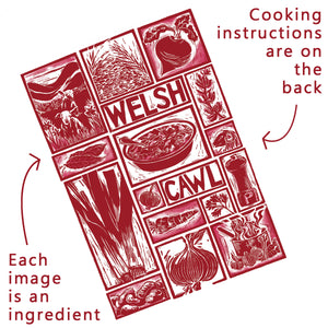 Welsh Cawl Illustrated Recipe Greetings Card lino cut by Kate Guy each image is an ingredient and cooking instructions are on the back