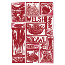Load image into Gallery viewer, Welsh Cawl Illustrated Recipe Greetings Card lino cut by Kate Guy each image is an ingredient and cooking instructions are on the back
