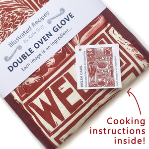 Welsh Cawl Illustrated Recipe double oven gloves - comes with cooking instructions! Lino Cut print by Kate Guy