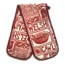 Load image into Gallery viewer, Welsh Cawl Illustrated Recipe double oven gloves - comes with cooking instructions! Lino Cut print by Kate Guy