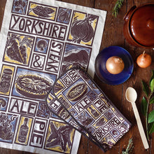 Load image into Gallery viewer, Yorkshire Steak and Ale Pie Illustrated Recipe tea towel and oven gloves set, lino cut by Kate Guy