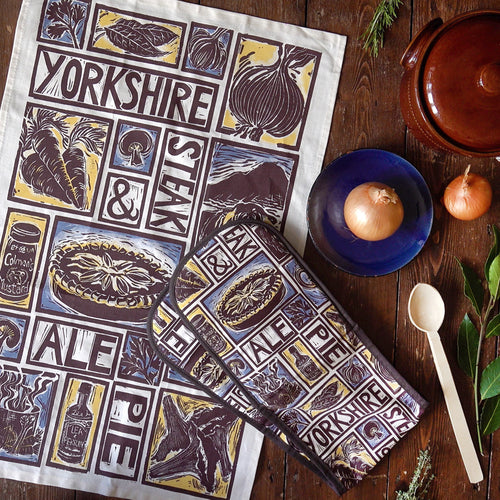 Yorkshire Steak and Ale Pie Illustrated Recipe tea towel and oven gloves set, lino cut by Kate Guy