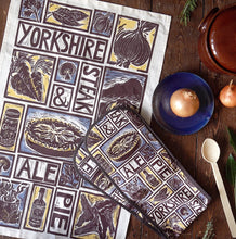 Load image into Gallery viewer, Yorkshire steak and ale pie illustrated recipe gift set lino cut print by Kate Guy Prints