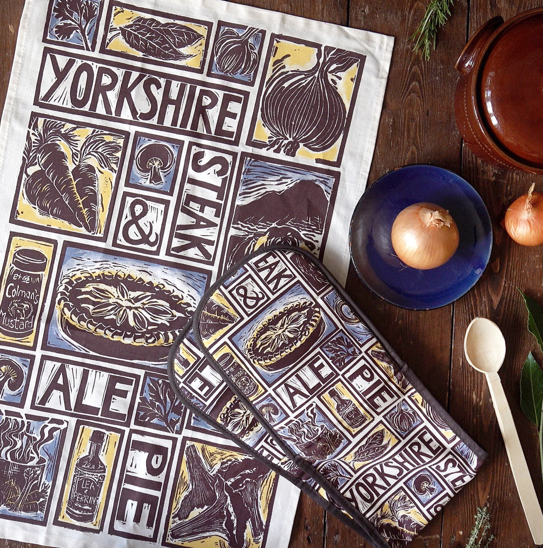 Yorkshire steak and ale pie illustrated recipe gift set lino cut print by Kate Guy Prints