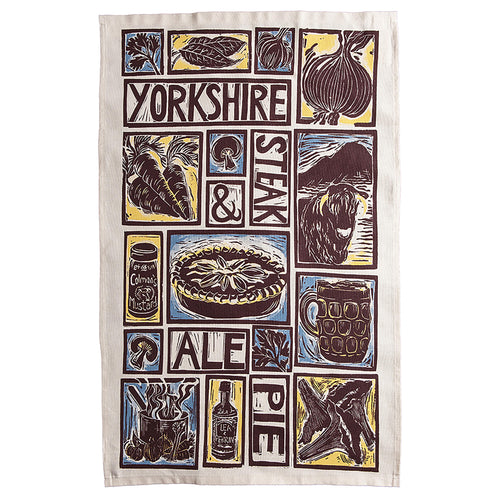 Yorkshire Steak and Ale Pie Illustrated Recipe tea towel lino cut by Kate Guy