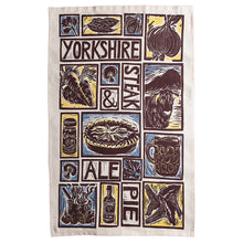 Load image into Gallery viewer, Yorkshire Steak and Ale Pie Illustrated Recipe tea towel lino cut by Kate Guy