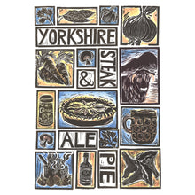Load image into Gallery viewer, Yorkshire Steak and Ale Pie Illustrated Recipe Greetings Card lino cut by Kate Guy each image is an ingredient cooking instructions are on the back