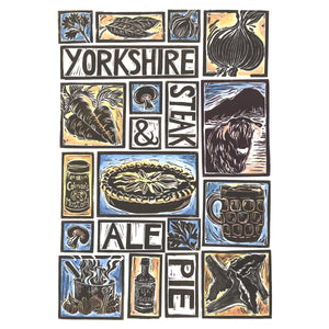 Yorkshire Steak and Ale Pie Illustrated Recipe Greetings Card lino cut by Kate Guy each image is an ingredient cooking instructions are on the back