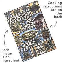 Load image into Gallery viewer, Yorkshire Steak and Ale Pie Illustrated Recipe Greetings Card lino cut by Kate Guy with cooking instructions on the back