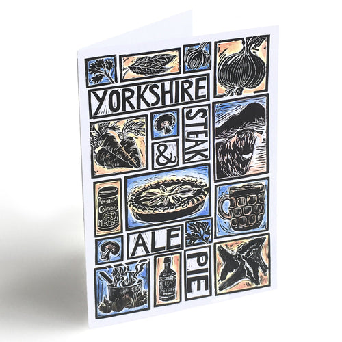 Yorkshire Steak and Ale Pie Illustrated Recipe Greetings Card lino cut by Kate Guy