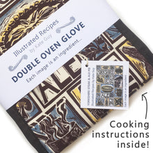 Load image into Gallery viewer, Yorkshire Steak and Ale Pie Illustrated Recipe double oven glove lino cut by Kate Guy, cooking instructions in the packaging