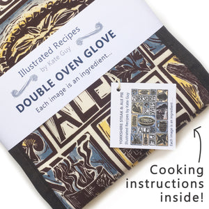 Yorkshire Steak and Ale Pie Illustrated Recipe double oven glove lino cut by Kate Guy, cooking instructions in the packaging