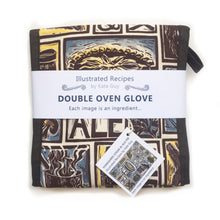 Load image into Gallery viewer, Yorkshire Steak and Ale Pie Illustrated Recipe oven gloves lino cut by Kate Guy