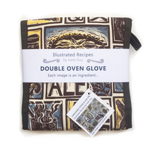 Yorkshire Steak and Ale Pie Illustrated Recipe oven gloves lino cut by Kate Guy