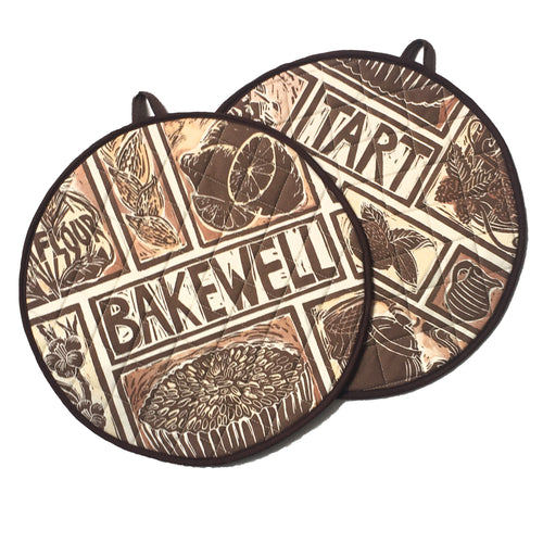 Bakewell Tart Linocut Print on Cooker Hob Cover by Kate Guy Prints Last One SALE