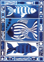 Load image into Gallery viewer, Kate Guy Prints Three Fish Blue Design greetings card