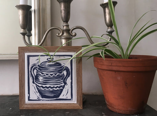 Casserole framed Tile Trivet lino cut by Kate Guy