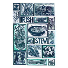 Load image into Gallery viewer, Kate Guy Prints Irish Stew Illustrated recipe Linocut greetings card