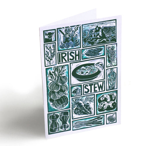 Irish stew Illustrated Recipe Greetings Card by Kate Guy each image is an ingredient and the cooking instructions are on the back