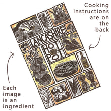 Load image into Gallery viewer, Lancashire Hot Pot Illustrated Recipe Greetings Card lino cut by Kate Guy each image is an ingredient and cooking instructions are on the back