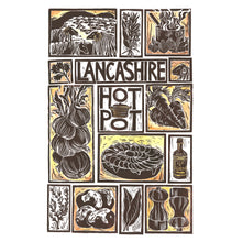 Load image into Gallery viewer, Lancashire Hot Pot Illustrated Recipe Greetings Card lino cut by Kate Guy