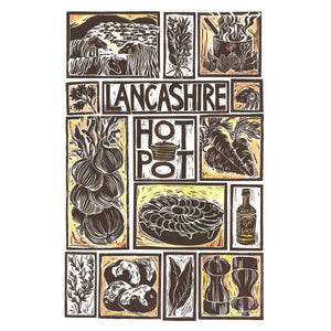 Lancashire Hot Pot Illustrated Recipe Greetings Card lino cut by Kate Guy