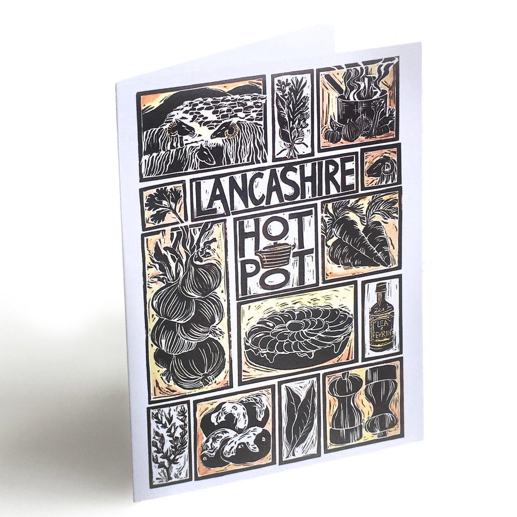 Lancashire Hot Pot Illustrated Recipe Greetings Card lino cut by Kate Guy each image is an ingredient and cooking instructions are on the back