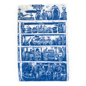 French Country Kitchen lino cut tea towel by Kate Guy
