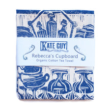Load image into Gallery viewer, Rebecca's Cupboard, French Country kitchen lino cut tea towel by Kate Guy