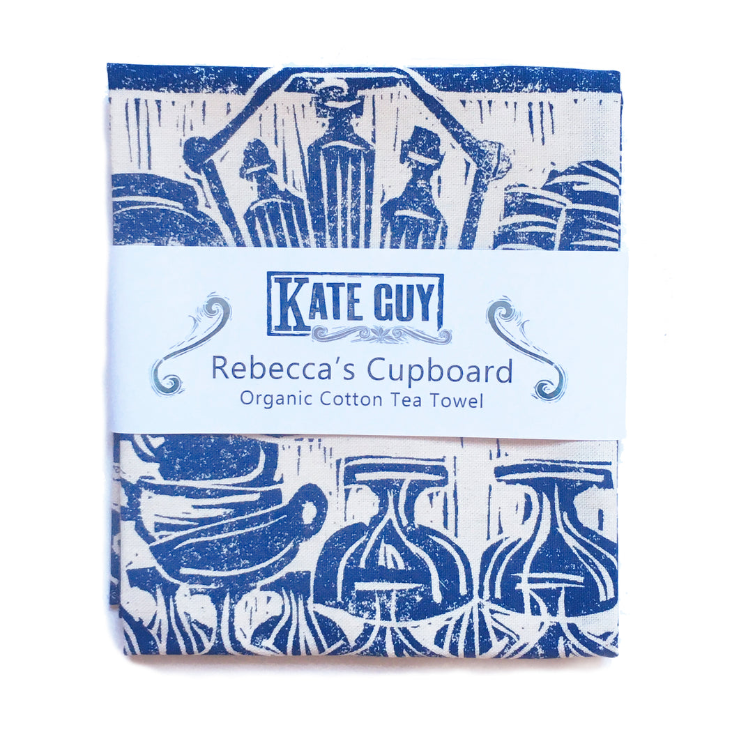 Rebecca's Cupboard, French Country kitchen lino cut tea towel by Kate Guy