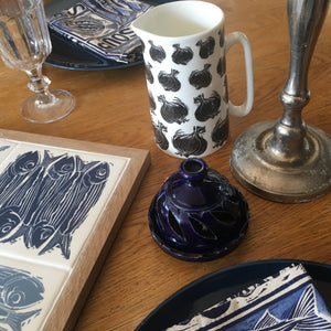 Onion gravy jug and decorated with black and white lino cut prints of onions by Kate Guy