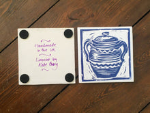 Load image into Gallery viewer, handmade tile trivet lino cut casserole by Kate Guy