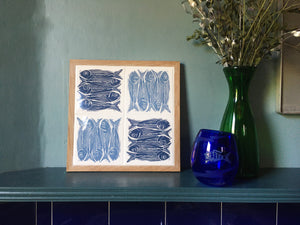 Sardines Handmade tile trivet, table centrepiece. Linocut print of 5 fish on four tiles framed in English oak