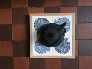 Scallop Shell Handmade tile trivet, table centrepiece. Linocut print of scallop shells on four tiles framed in English oak