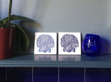 Load image into Gallery viewer, Scallop shell tile trivets in pale and Prussian blue lino cut print by Kate Guy