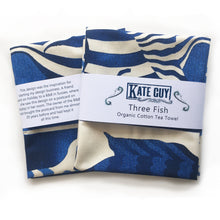 Load image into Gallery viewer, Striking blue fish design tea towel organic cotton by Kate Guy