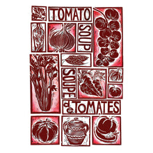 Load image into Gallery viewer, tomato soup illustrated recipe greetings card, lino cut by Kate Guy. Each image is an ingredient and the cooking instructions are on the back