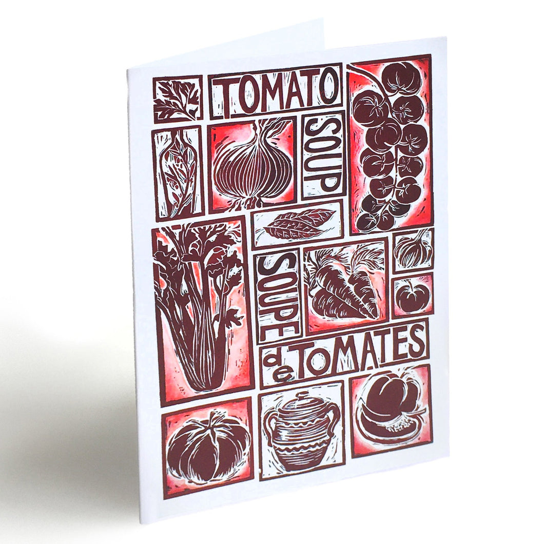 tomato soup illustrated recipe greetings card, lino cut by Kate Guy. Each image is an ingredient and the cooking instructions are on the back