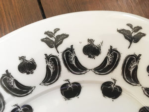 large vegetable design platter with black and white lino cuts by Kate Guy - detail