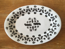 Load image into Gallery viewer, large vegetable design platter with black and white lino cuts by Kate Guy