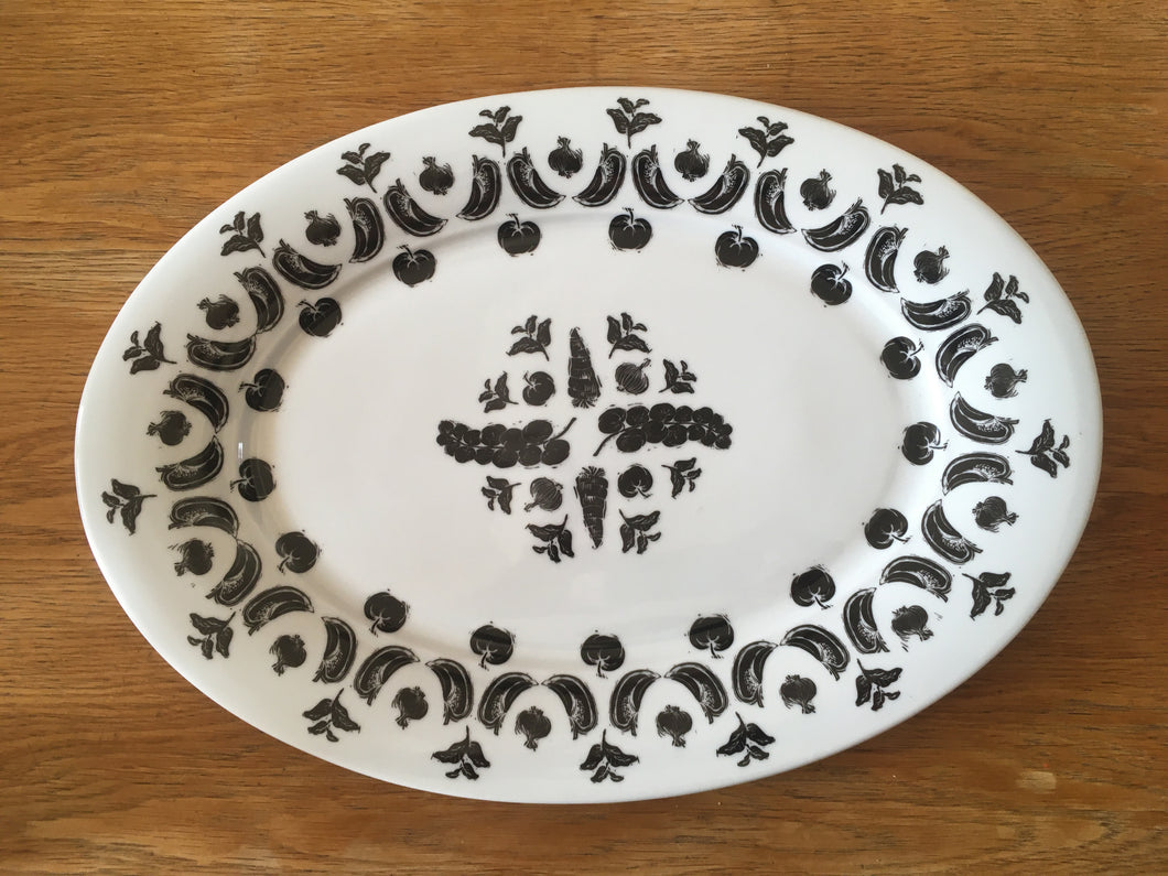 large vegetable design platter with black and white lino cuts by Kate Guy