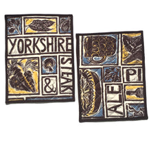 Load image into Gallery viewer, Illustrated recipe yorkshire cooker hob cover lino cut by Kate Guy