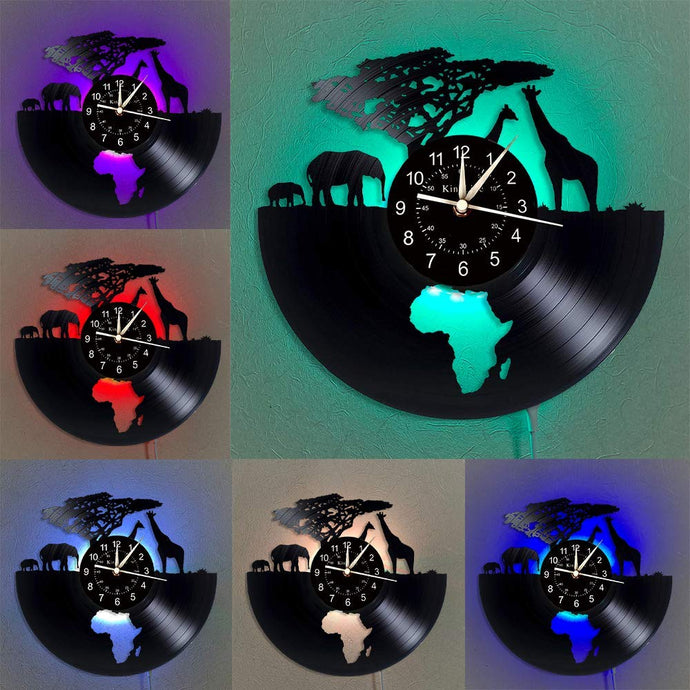 Africa Safari Vinyl Record Wall Clock
