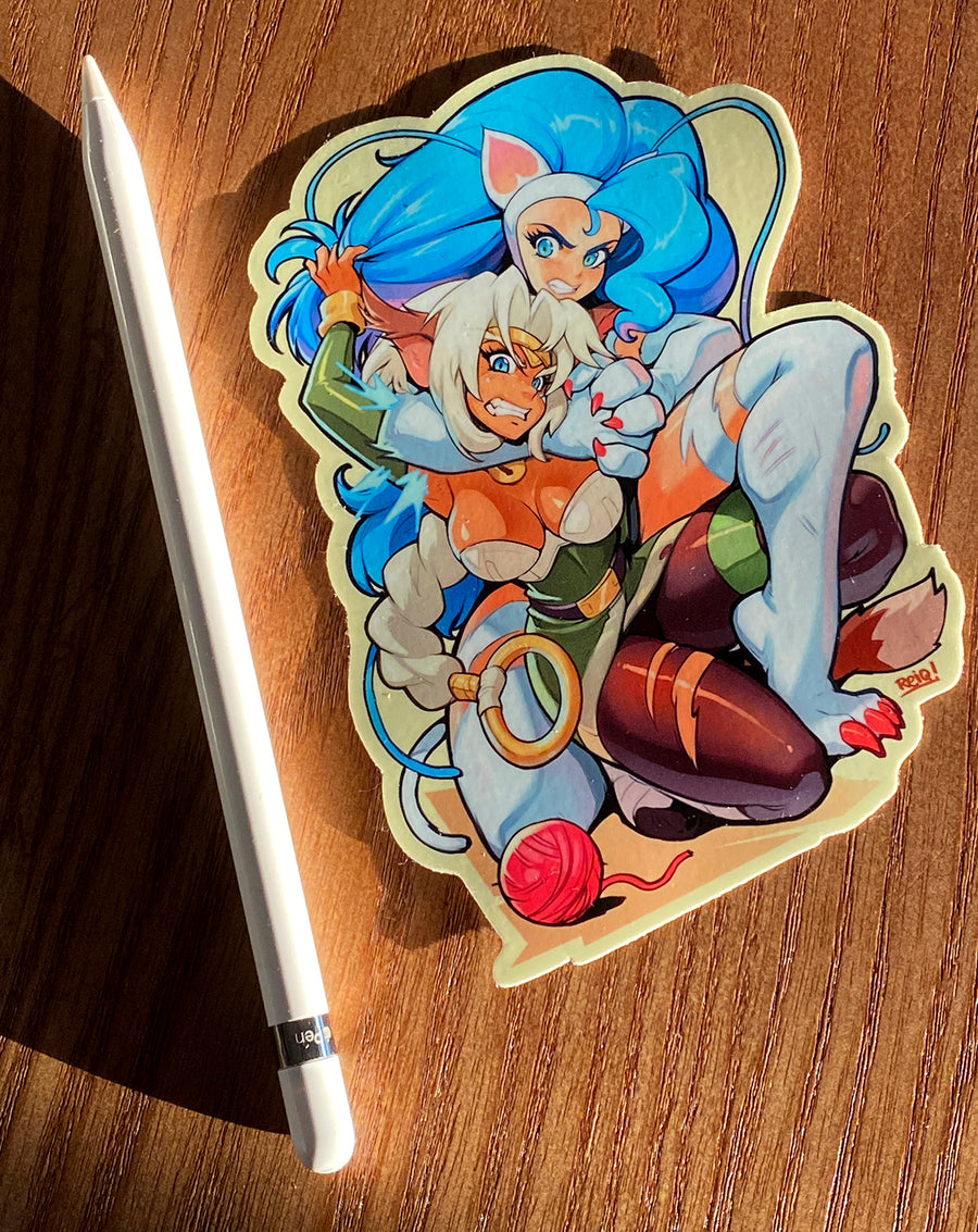 Felicia VS Aisha Clan Clan Super Cat Fight Sticker