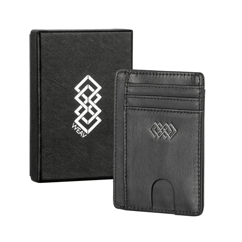 WEAV RFID Blocking Genuine Leather Slim Wallet - Black